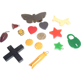 14 BAKELITE CHARMS for Jewelry Design Realistic Figurals
