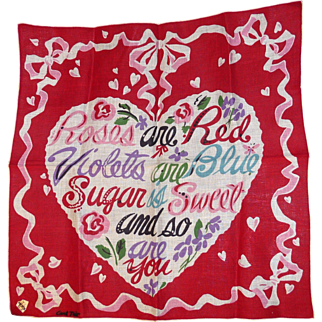 Gorgeous Designer Hanky Signed CARL TAIT Valentine's Poem Mint with Tag