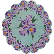 SALE! Gorgeous Spring Theme Round Scalloped Floral Flower Hanky with Purple Iris