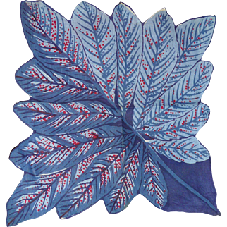 Gorgeous Blues Figural Hanky Gathered Leaves or Feathers