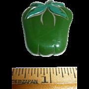 Vintage Bakelite Carved Green Pepper Vegetable Pin Brooch