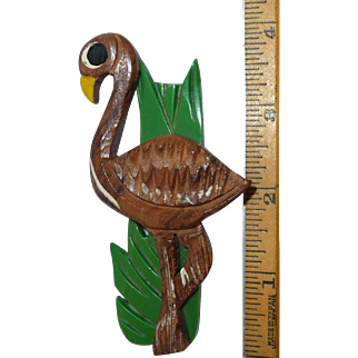 Vintage Carved Wood Flamingo Pin Brooch w/ Celluloid Grass Bakelite Era Multi Material