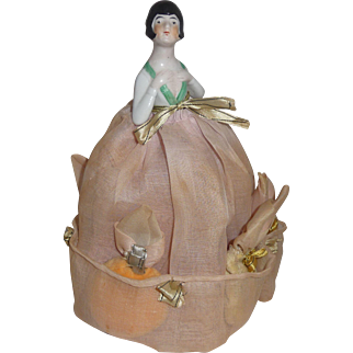 Rare! Rare! Powder Puff Porcelain Art Deco Half Doll with Fabric Skirt & Original Puffs Included