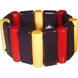 Patriotic Red Cream Blue BAKELITE Stretch Bracelet