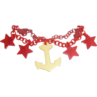 Beautiful Bakelite 4 Star & Anchor Charm Patriotic Nautical Necklace Celluloid Chain