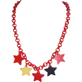 Beautiful Bakelite 5 Realistic Figural Star Charm Patriotic Necklace Celluloid Chain