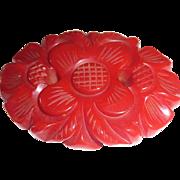 Beautiful Deep Carved Chunky Red Flower Bakelite Pin Brooch