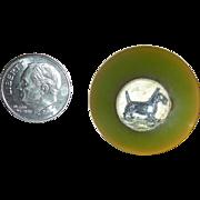Green Bakelite Button with Intaglio Center of a Scotty Dog