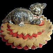 Unusual Antique Victorian Dip Pen Wipe Metal Cat with Ball on Felt Rug