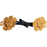 Fabulous and Unusual Bakelite Carved Double Flowers Pin Brooch Black & Caramel