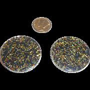 2 Vintage Lucite Black / Clear Colorful Confetti Disk Parts Pieces Bakelite Style