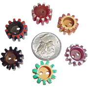 6 Different Colors Bakelite Gear Buttons