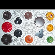 12 Vintage Plastic & Bakelite Flower Buttons on Fancy Card