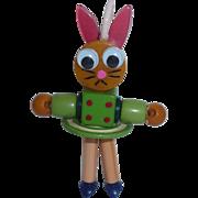 Bakelite Googly Eyed Crib Toy Bunny Rabbit Button Doll Charm Pendant Lucite Spring Greens