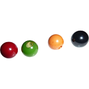 4 Large Bakelite Catalin Ball Buttons All Different Colors