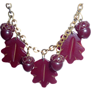 Fabulous! Vintage Bakelite Black Cherry Red Carved Acorn & Leaves Charm Necklace