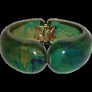 Rare Vintage Bakelite INKSPOT SWIRL Clamper Bracelet Bangle
