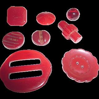 7 Vintage Red Bakelite Buttons + 1 Buckle Slide All Different Shapes