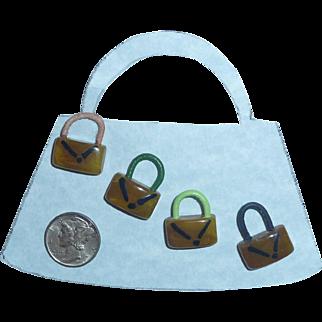 4 Bakelite Buttons Purses Handbags Realistic Figural Goofy