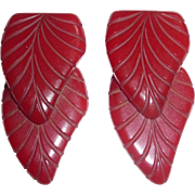 Beautiful Chunky 2 Cherry Red Bakelite Double XL Leaf Pieces Jewelry Design