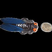 Outstanding XL Celluloid Cicada Bug Pin Brooch Bakelite Era
