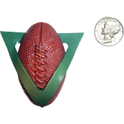 XL Celluloid Button Realistic Figural FootBall / Foot Ball Through the Goal Post or Victory for the Win!