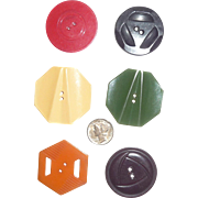 Beautiful Set of 6 Large Bakelite Carved / Molded Buttons All Different 6 Colors