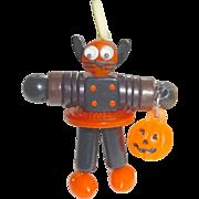 Bakelite Button Bead Kitty Cat Crib Toy Halloween Doll Black & Orange Kitten Charm Pendant