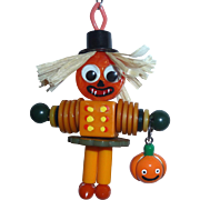BAKELITE Googley Eyed SCARECROW with JOL Charm Pendant Doll Buttons Beads Pumpkin