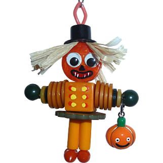 BAKELITE Googley Eyed SCARECROW with JOL Charm Pendant Doll Buttons Beads Pumpkin