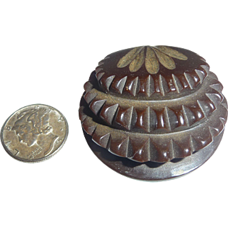 Fabulous Bakelite Chunky Button Deeply Carved Triple Layer Unusual!