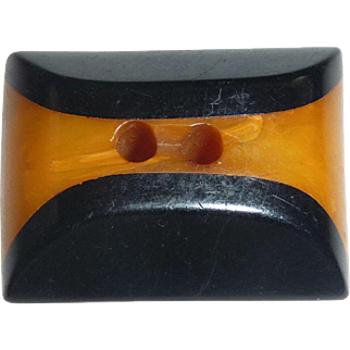 Fabulous Bakelite Thick Chunky Cookie Button Two Color Unusual!