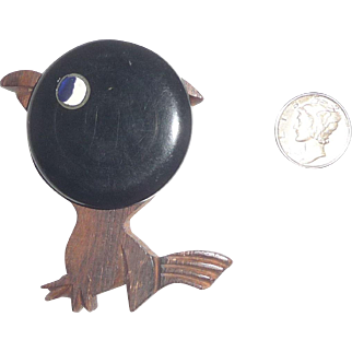 Black Bakelite and Wood Baby Chick  Chicken or Bird with Attitude