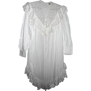 VANDEMERE Nightgown White Battenberg Lace Victorian Style Cotten Sz Small Wedding