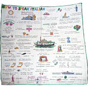 Fun Picture Hanky Handkerchief * How to Speak Italian *