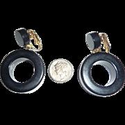Chunky Halloween Black Hoop Bakelite Clip Dangle Earrings
