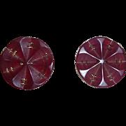 Gorgeous Set of 2 Medium Bakelite Deeply Carved Open Cut Thru Buttons Flower Type Very Unusual!