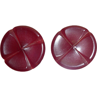 Beautiful Set of 2 Large Burgundy Wine Bakelite Deeply Carved Buttons
