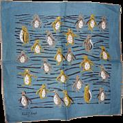 Vintage 1950s-60s era Tammis Keefe Adorable Penguins Hanky Handkerchief Hankies Blues
