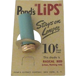 """Vintage Lipstick Pond's """"Lips"""" 10 cent trial size Rascal Red on Original Card"""