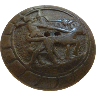 Wonderful Picture Composition or Wood Carved Button Woman Walks Her Dog