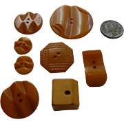 8 Vintage Bakelite Buttons Butterscotch Shapes Carved and in a Few Sizes