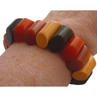 4 Color Bakelite Stretch Bracelet Fall / Autumn Colors Slanted Log / Buttons