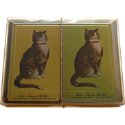Vintage 2 Decks CHESSIE Peke Old Man Cat & Sleeping Chessie Playing Cards Original Box