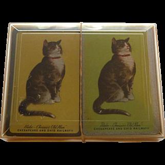 Vintage 2 Decks CHESSIE Peke Old Man Cat & Sleeping Chessie Playing Cards Original Box