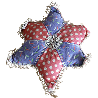 Vintage Folk Art Americana Patriotic Quilted Red White Blue Star Pin Cushion Cotton fabric and Lace Tatting
