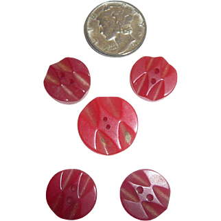 Cute Set of 5 Tiny Red Bakelite Deeply Carved Buttons