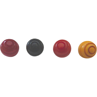 4 Bakelite Ball Buttons All Top Deco Carved Concentric Circle Bullseyes 4 Colors  Colorful & Fun!