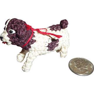 Adorable Vintage Crocheted Christmas Puppy Dog Ornament or Doll House Miniature