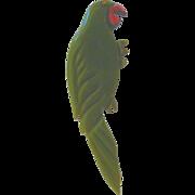 Vintage Bakelite Green Parrot Pin Brooch